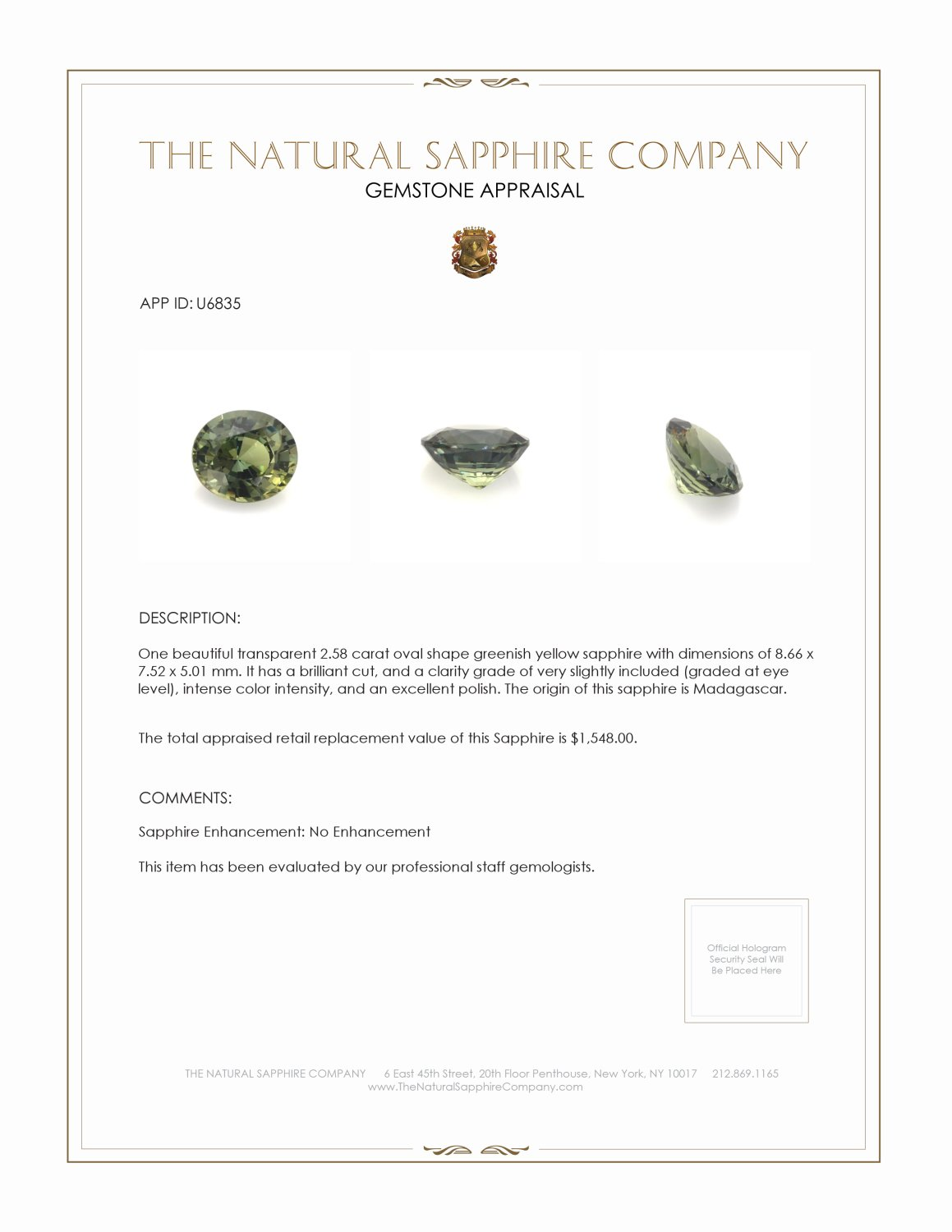 Natural Untreated Green Sapphire U6835 Certification 3