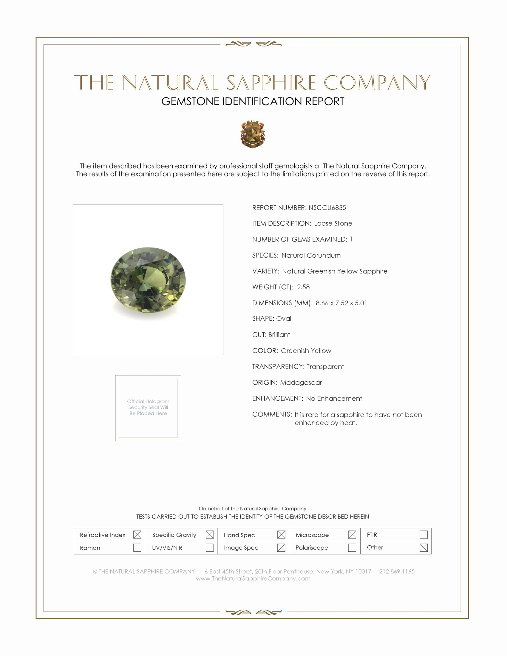 Natural Untreated Green Sapphire U6835 Certification