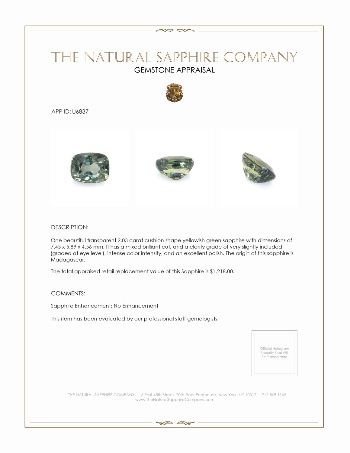 Natural Untreated Green Sapphire U6837 Certification 3
