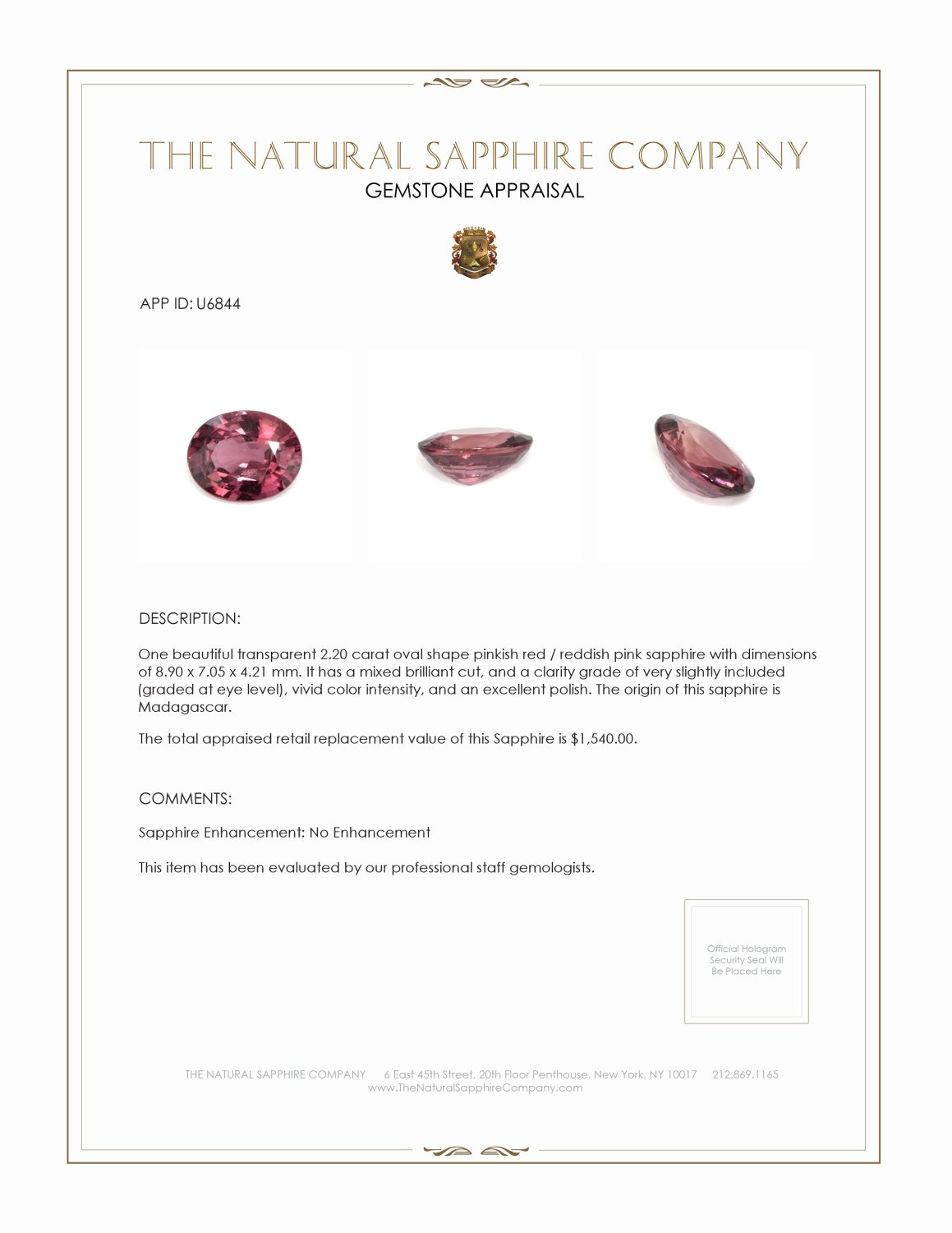 Natural Untreated Purplish Pink Sapphire U6844 Certification 3
