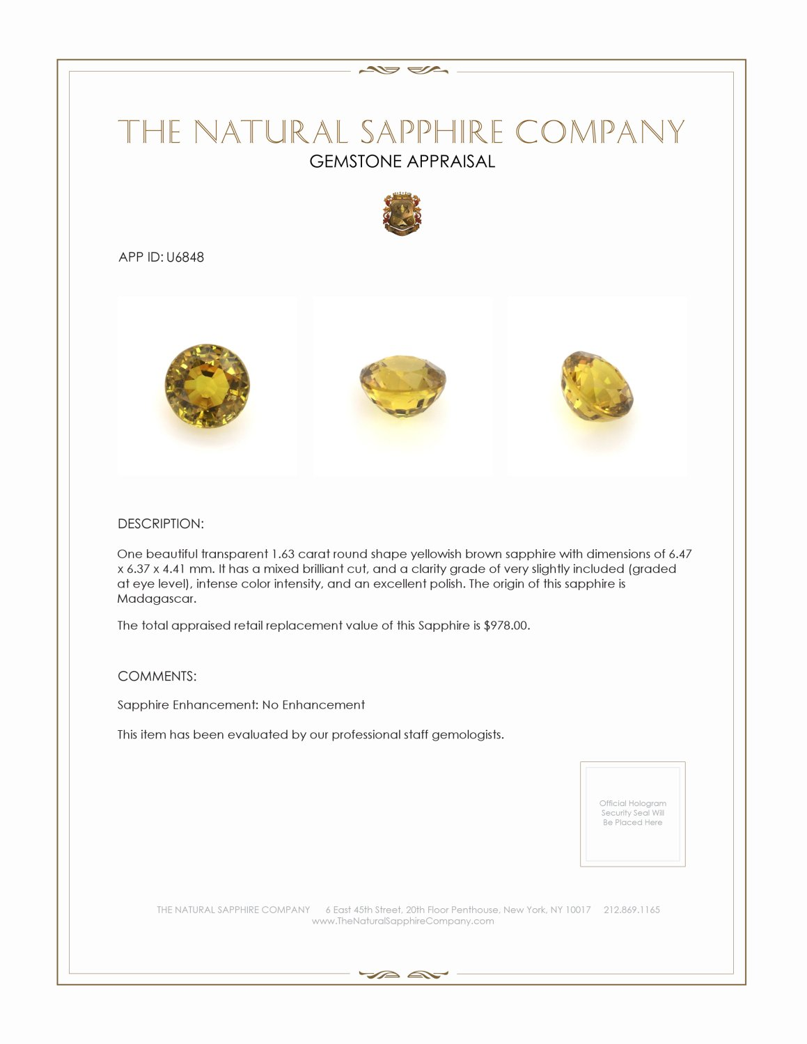 Natural Untreated Yellowish Brown Sapphire U6848 Certification 3