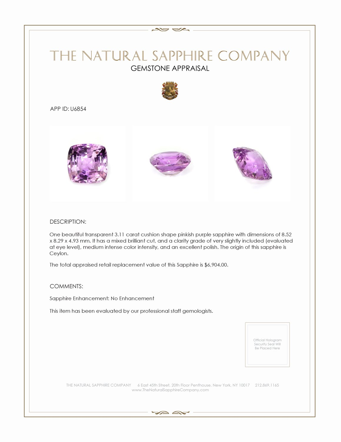 Natural Untreated Purple Sapphire U6854 Certification 3