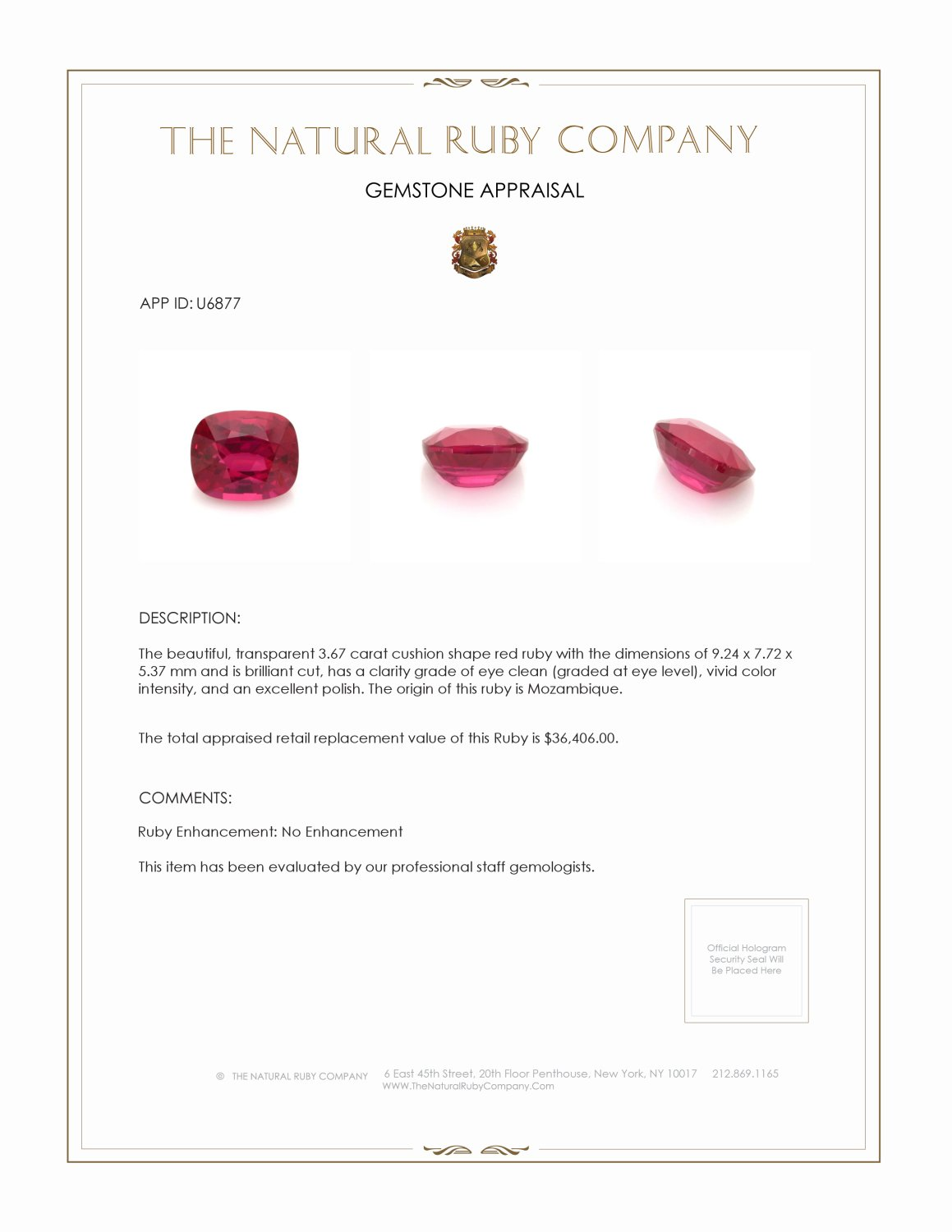 Natural Untreated Ruby U6877 Certification 4