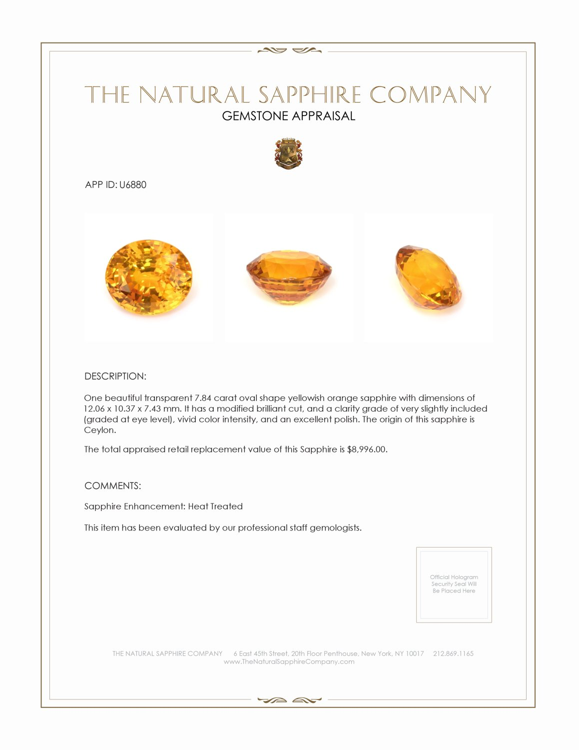 Natural Yellowish Orange Sapphire U6880 Certification 4