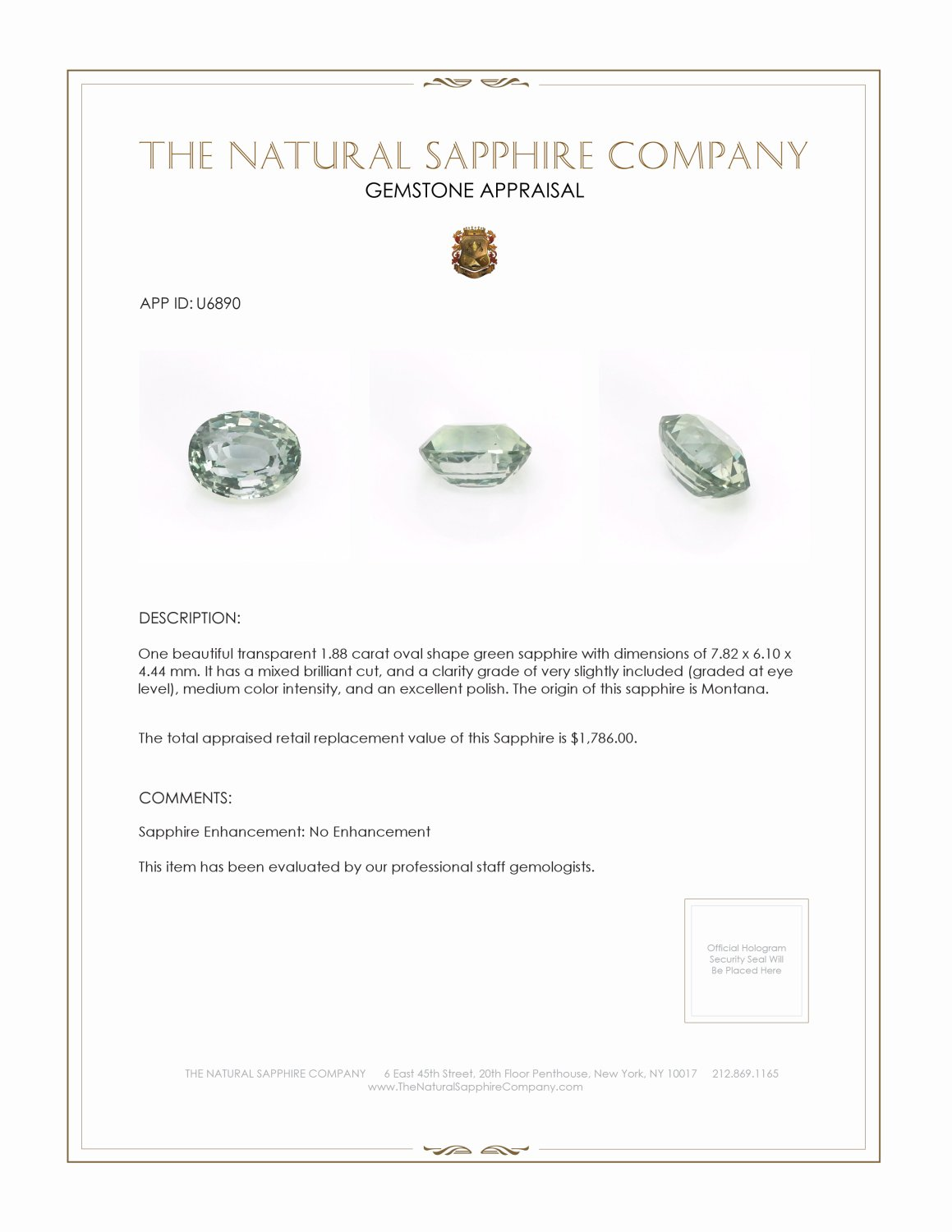 Natural Untreated Green Sapphire U6890 Certification 3