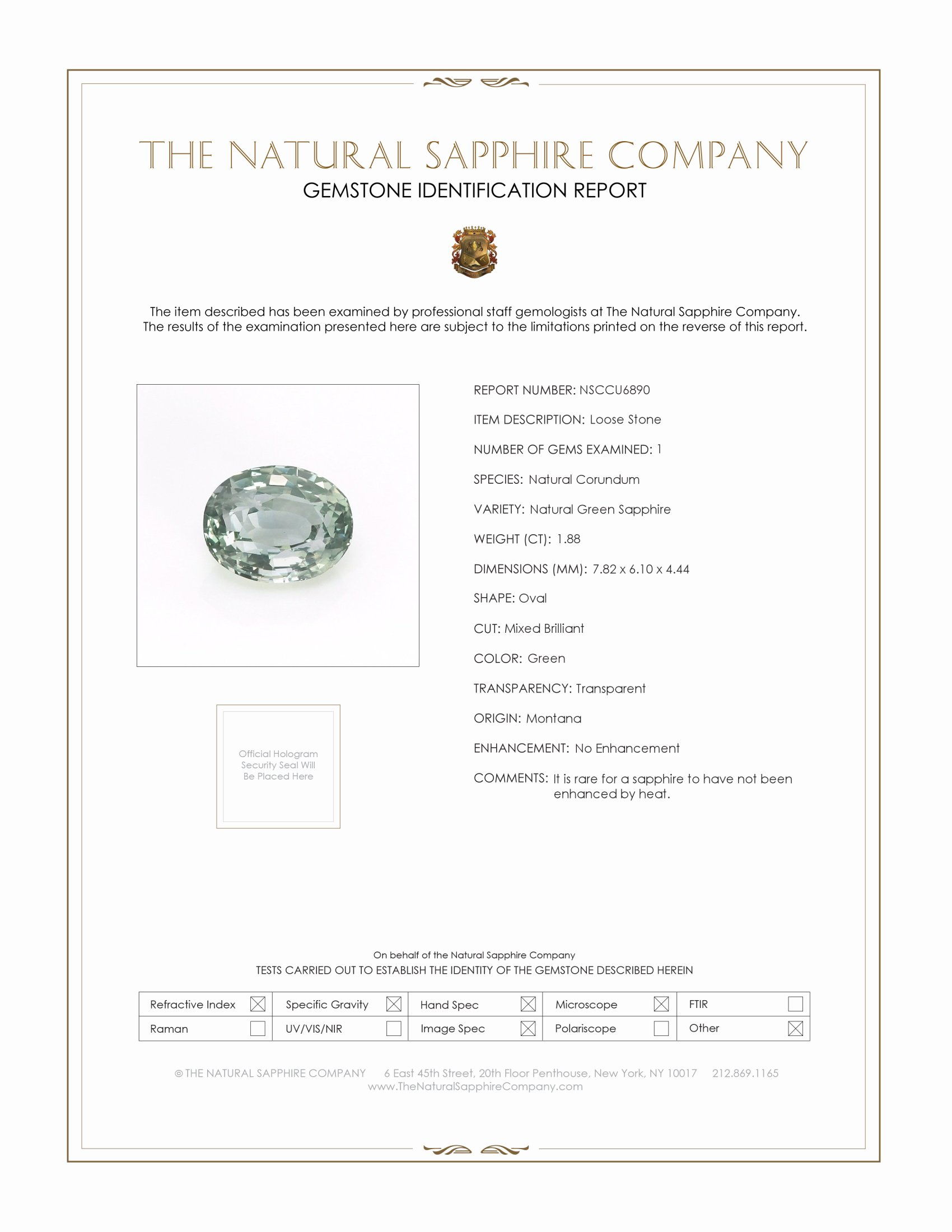 Natural Untreated Green Sapphire U6890 Certification