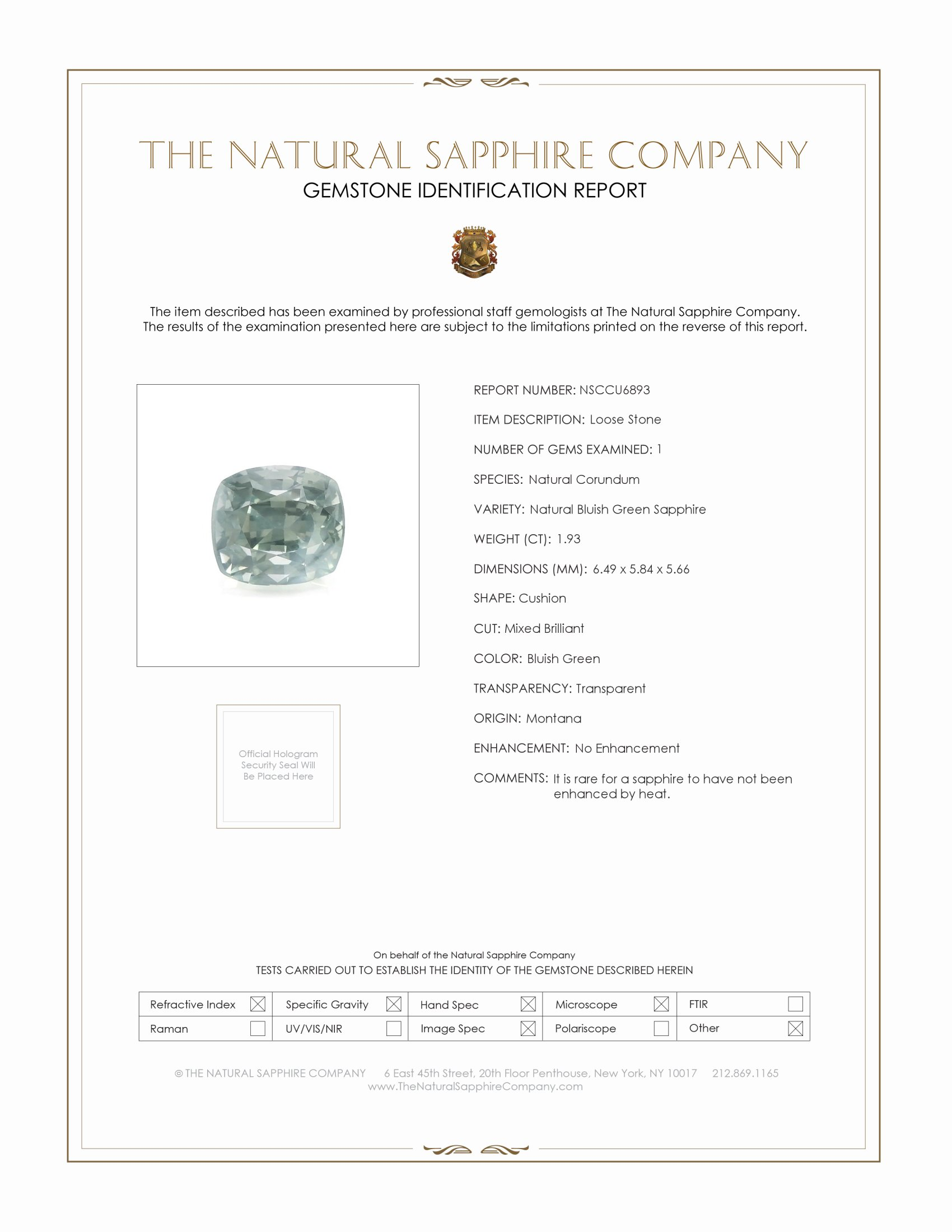 Natural Untreated Green Sapphire U6893 Certification