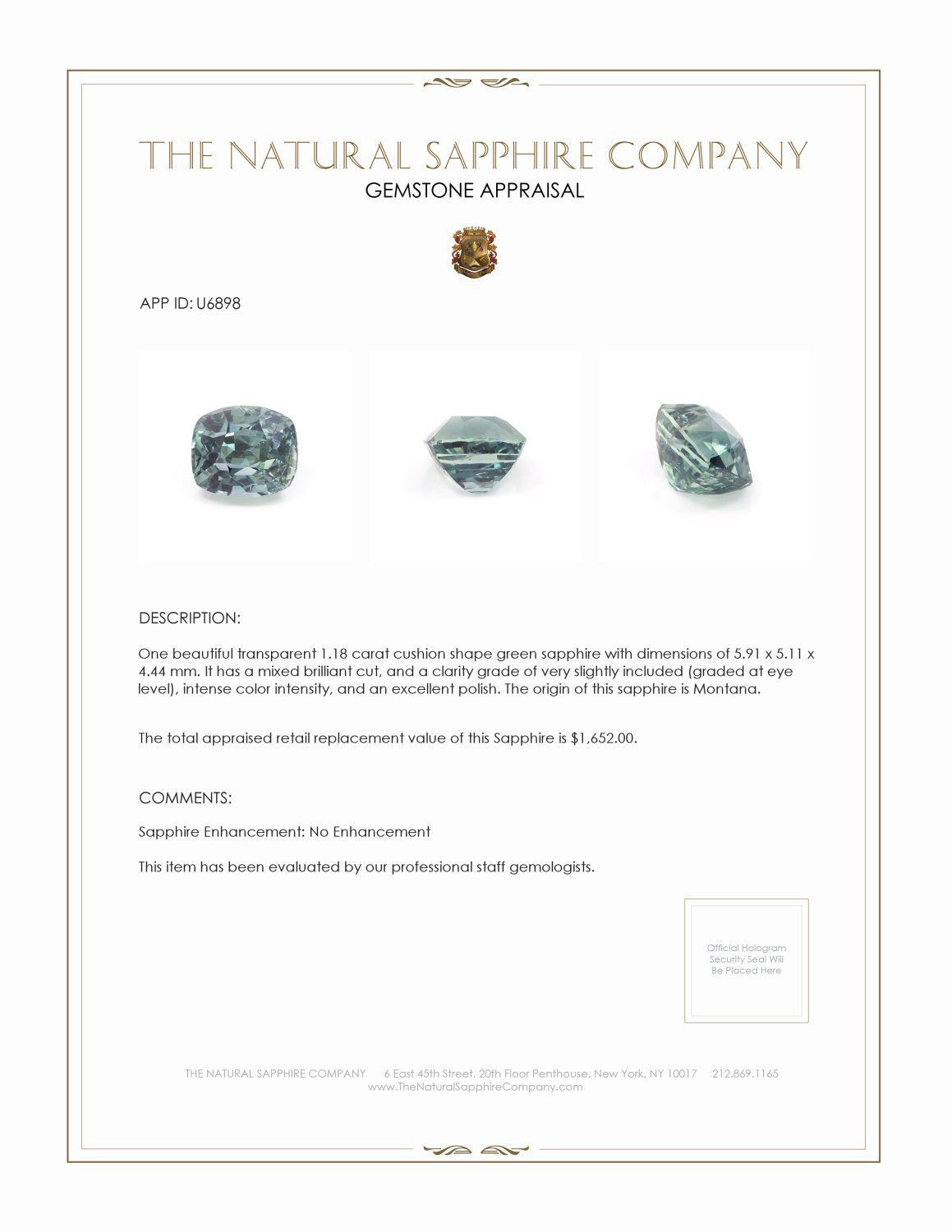 Natural Untreated Green Sapphire U6898 Certification 3