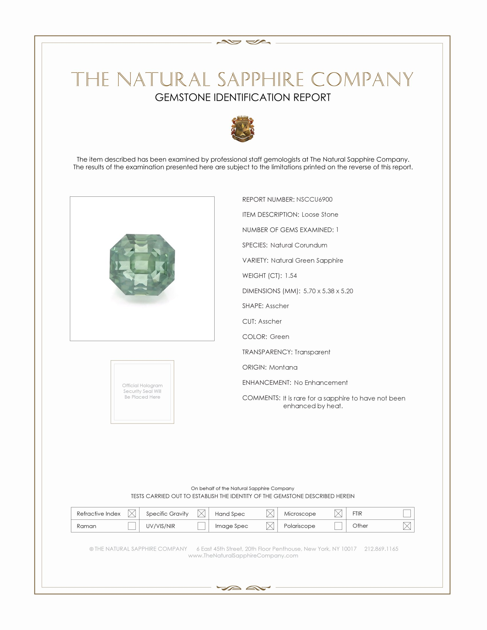 Natural Untreated Green Sapphire U6900 Certification