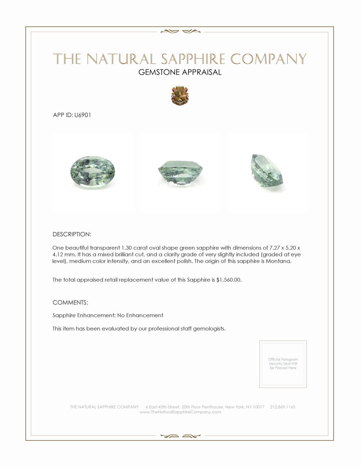 Natural Untreated Green Sapphire U6901 Certification