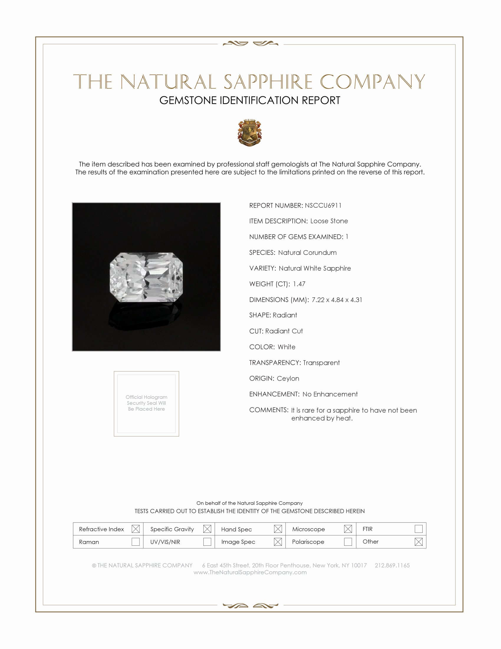 Natural Untreated White Sapphire U6911 Certification