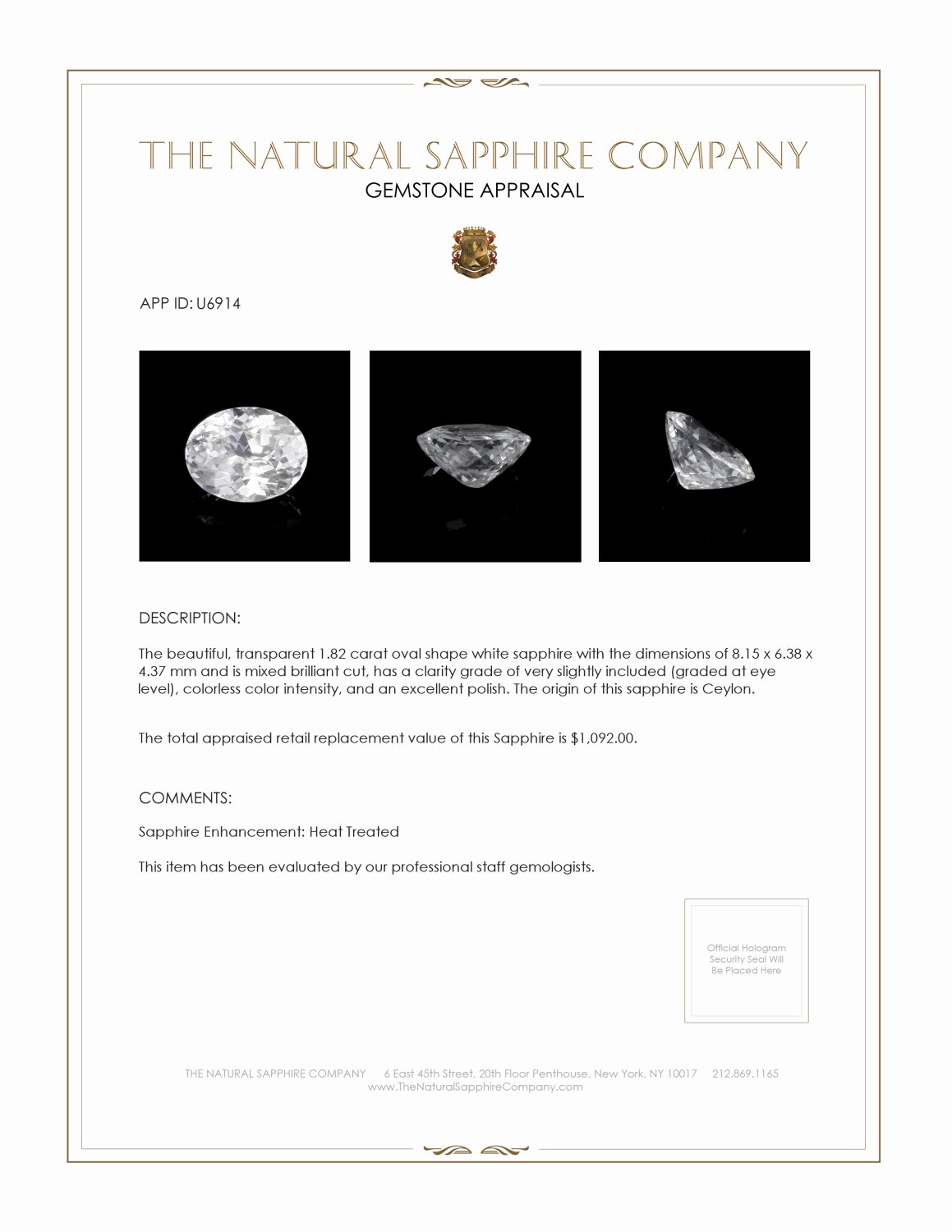 Natural White Sapphire U6914 Certification 3