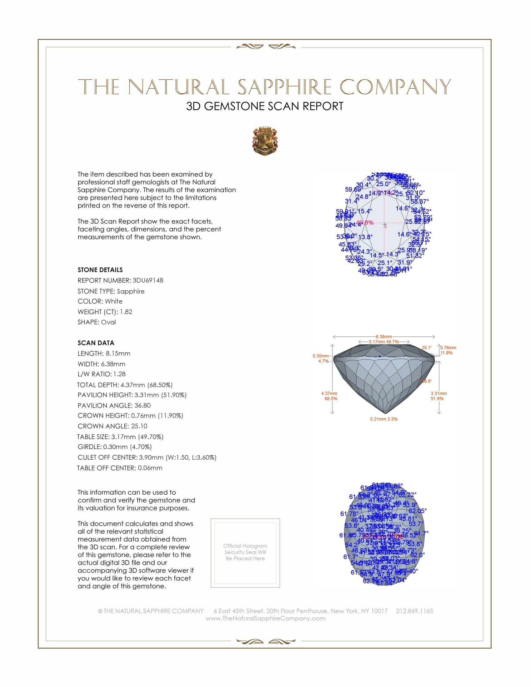 Natural White Sapphire U6914 Certification 2