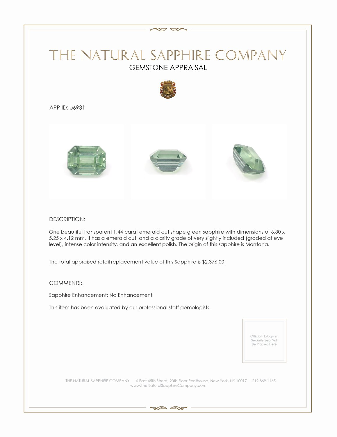 Natural Untreated Green Sapphire U6931 Certification 3