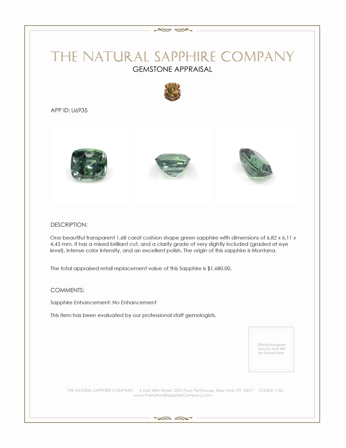 Natural Untreated Green Sapphire U6935 Certification 3