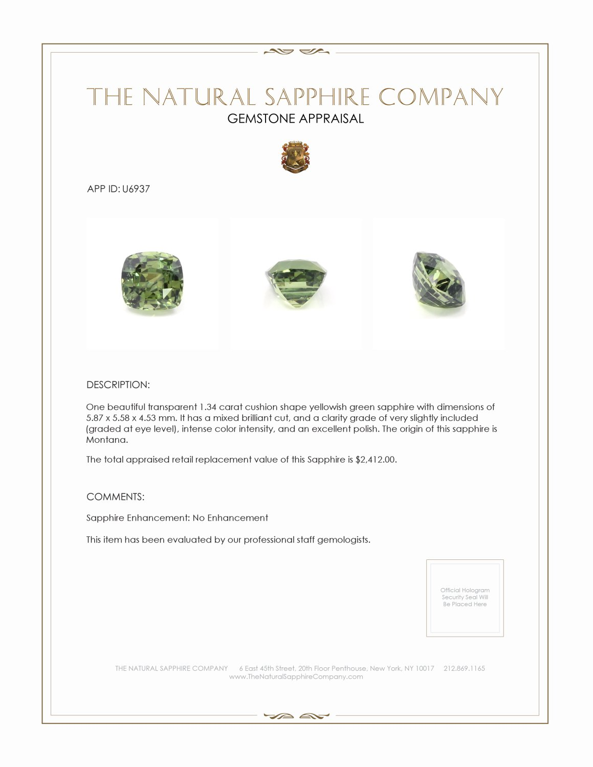 Natural Untreated Yellowish Green Sapphire U6937 Certification 3