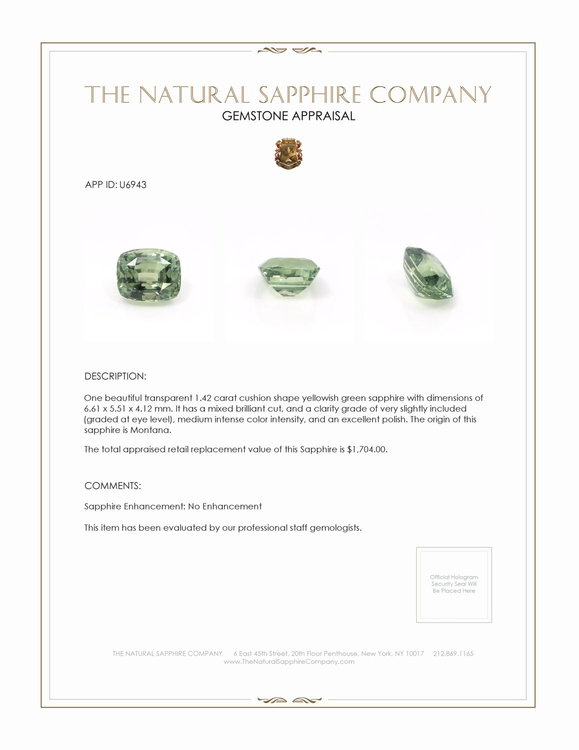 Natural Untreated Yellowish Green Sapphire U6943 Certification 3