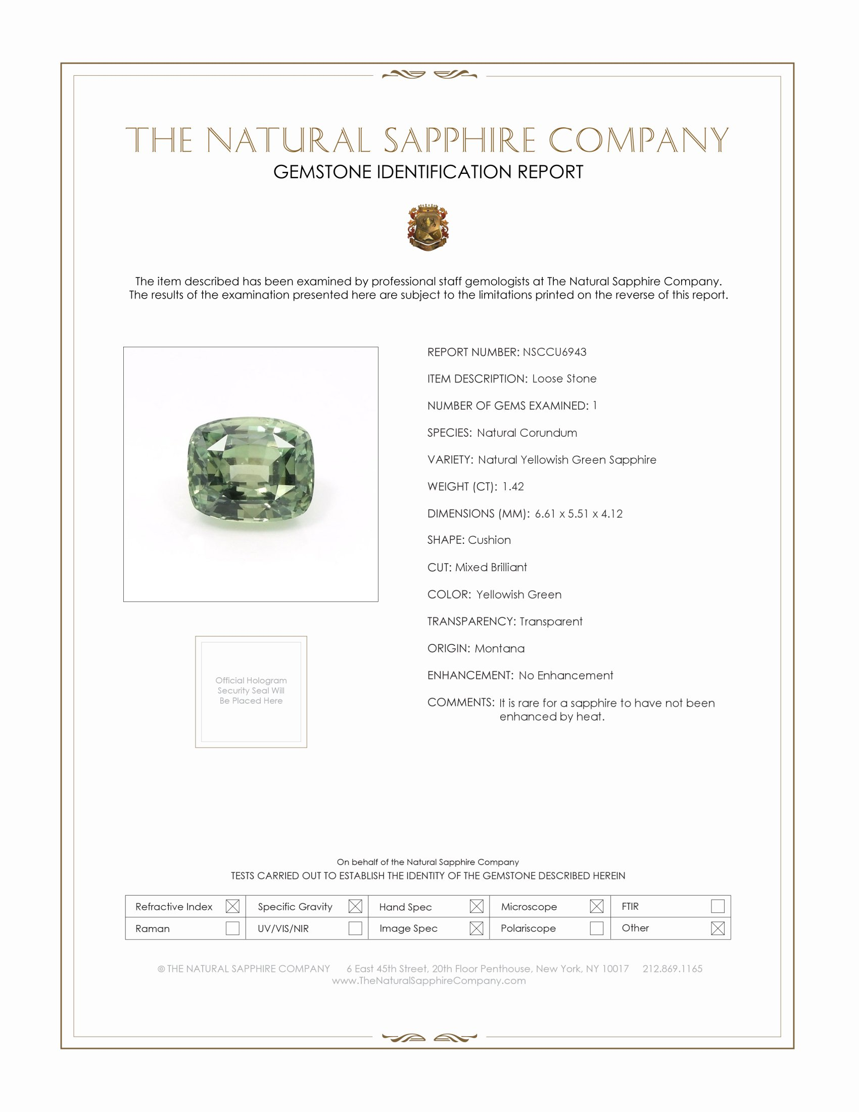 Natural Untreated Yellowish Green Sapphire U6943 Certification