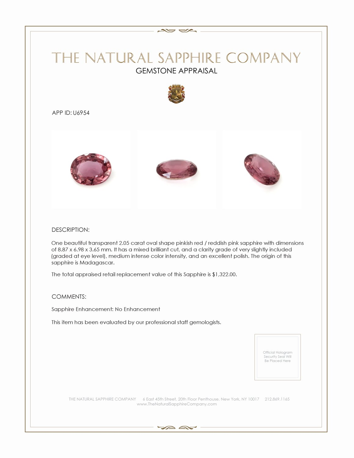 Natural Untreated Purplish Pink Sapphire U6954 Certification