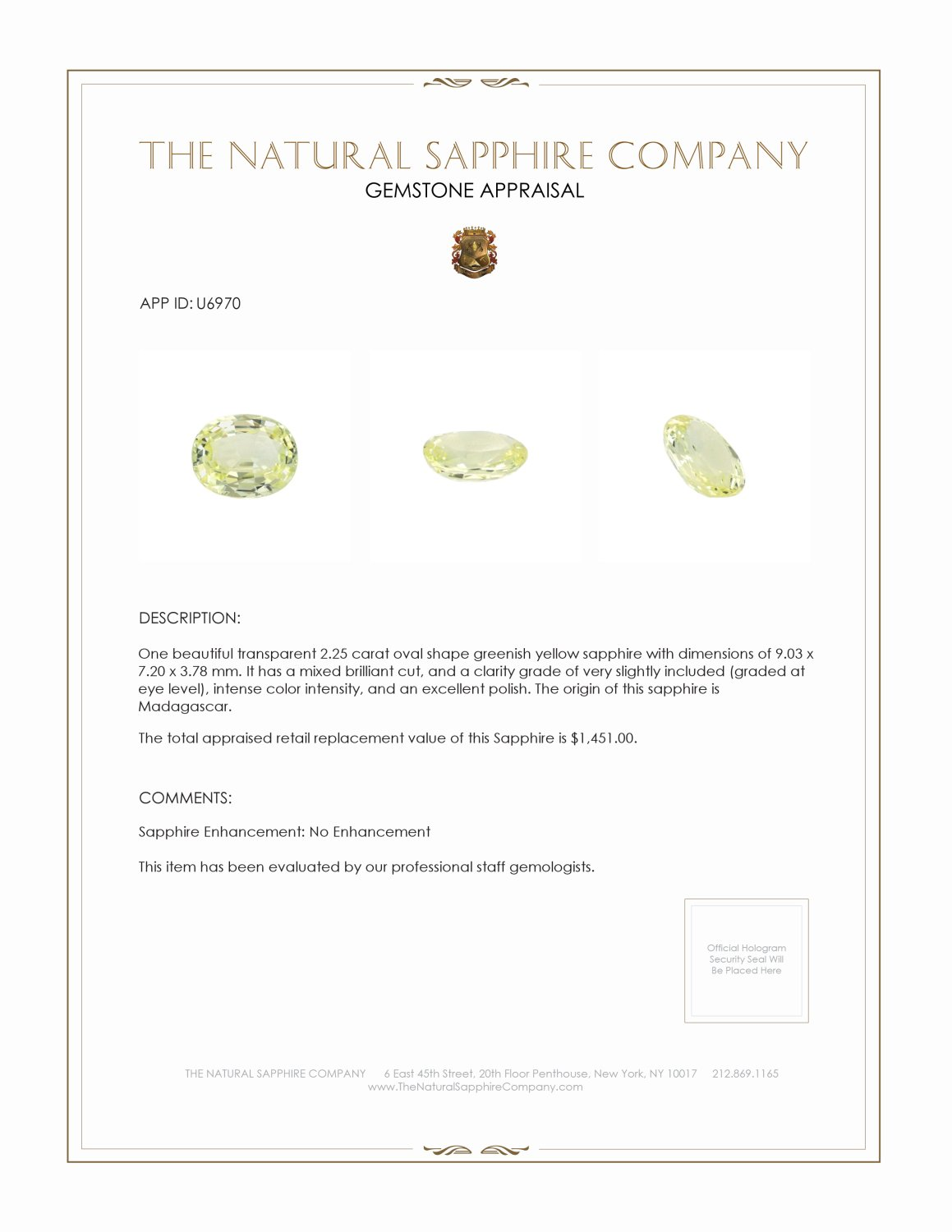 Natural Untreated Greenish Yellow Sapphire U6970 Certification 3
