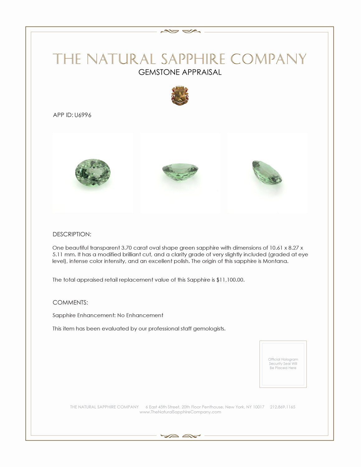 Natural Untreated Green Sapphire U6996 Certification 3