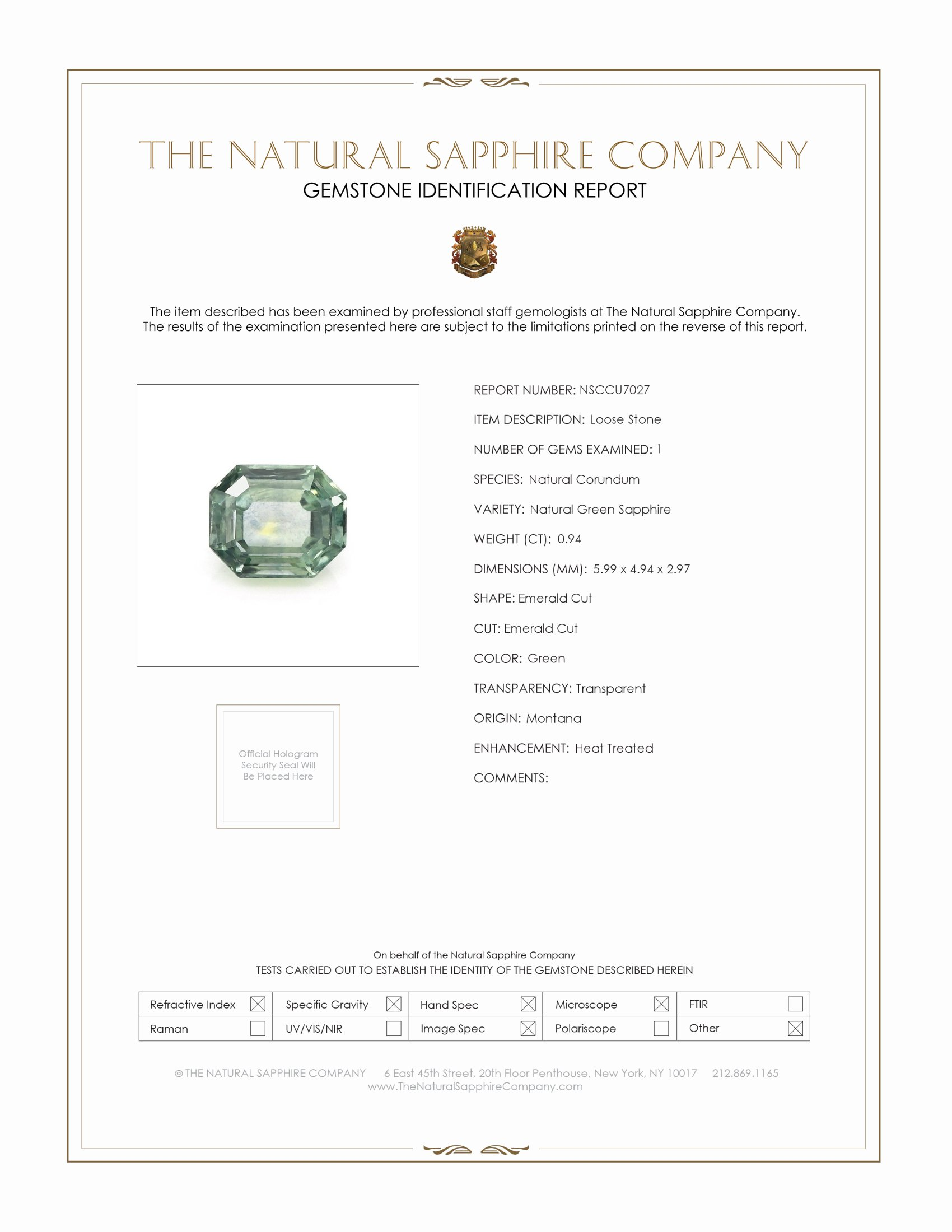 Natural Yellowish Green Sapphire U7027 Certification
