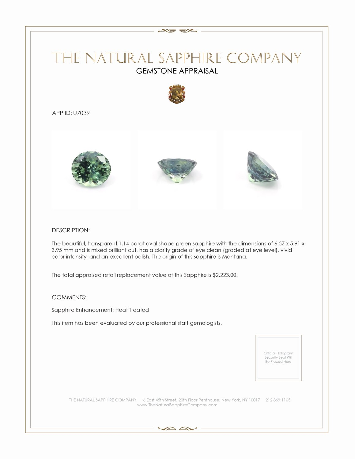 Natural Yellowish Green Sapphire U7039 Certification 3