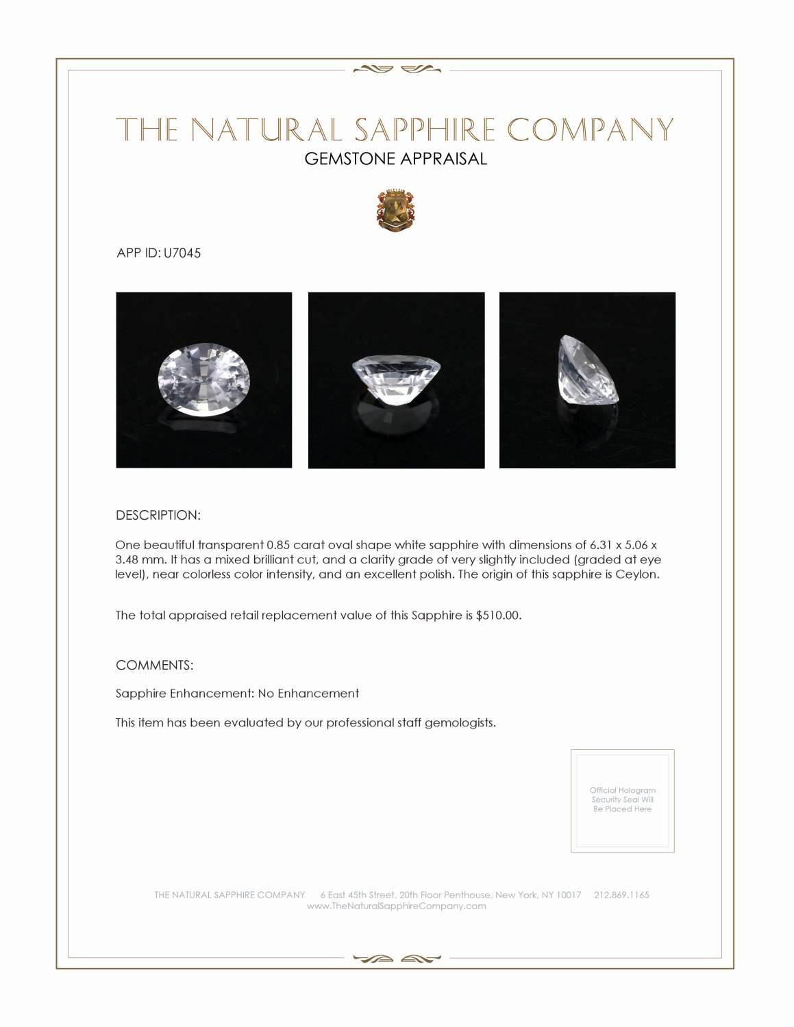 Natural Untreated White Sapphire U7045 Certification