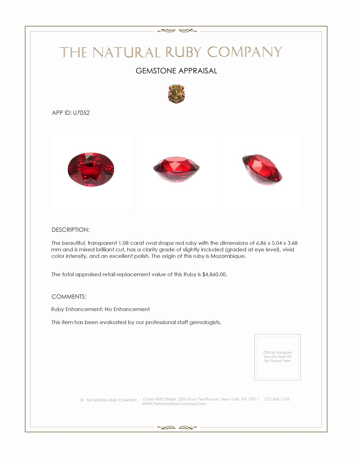 Natural Untreated Ruby U7052 Certification 4