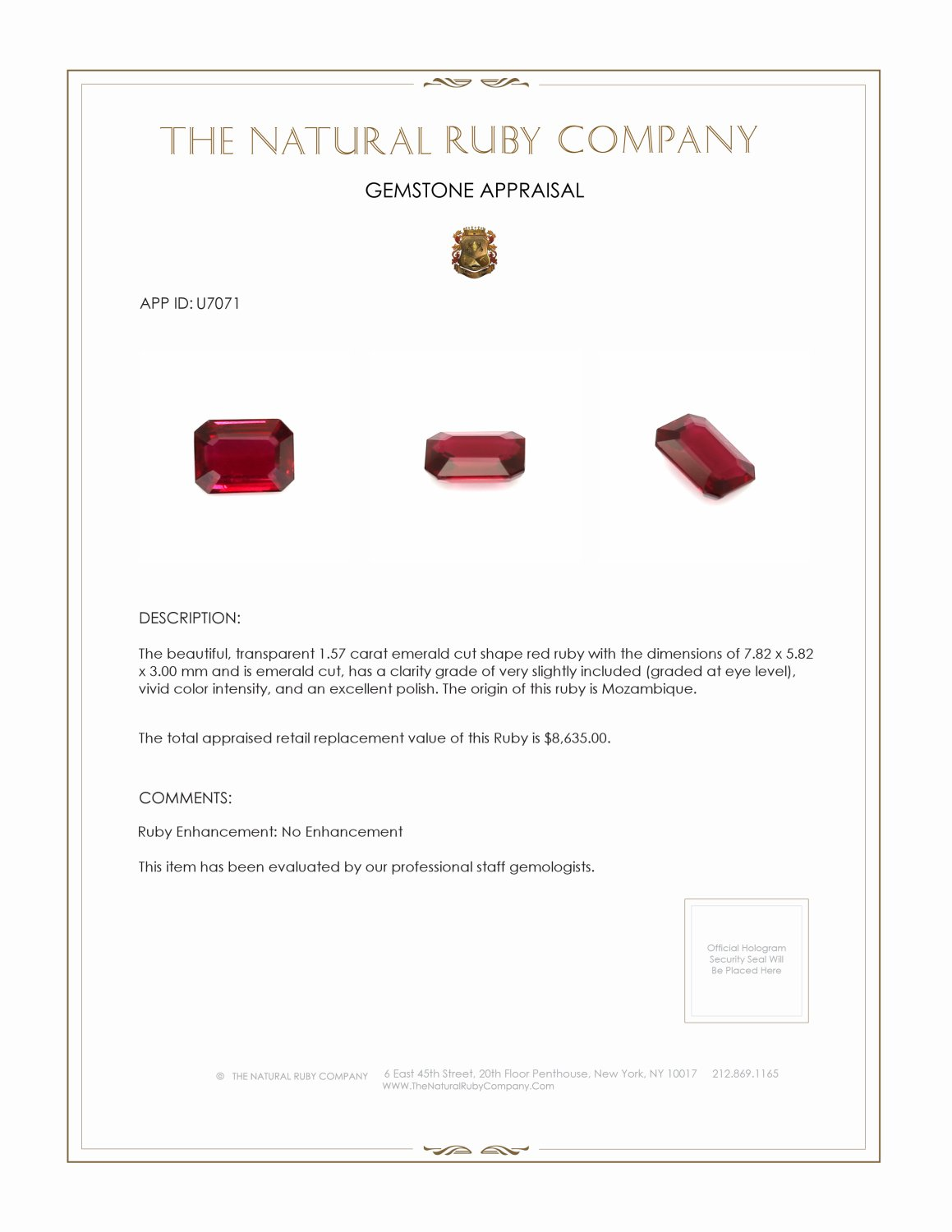 Natural Untreated Ruby U7071 Certification 4