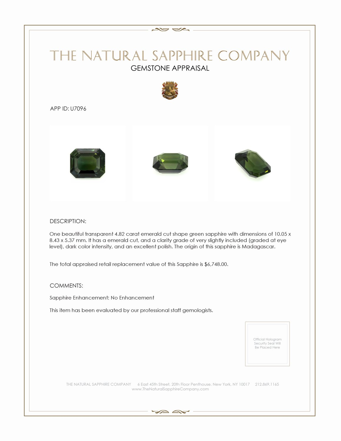 Natural Untreated Green Sapphire U7096 Certification 3