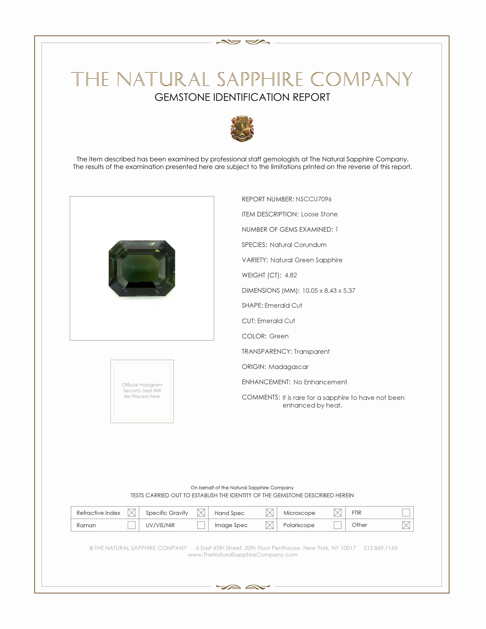 Natural Untreated Green Sapphire U7096 Certification