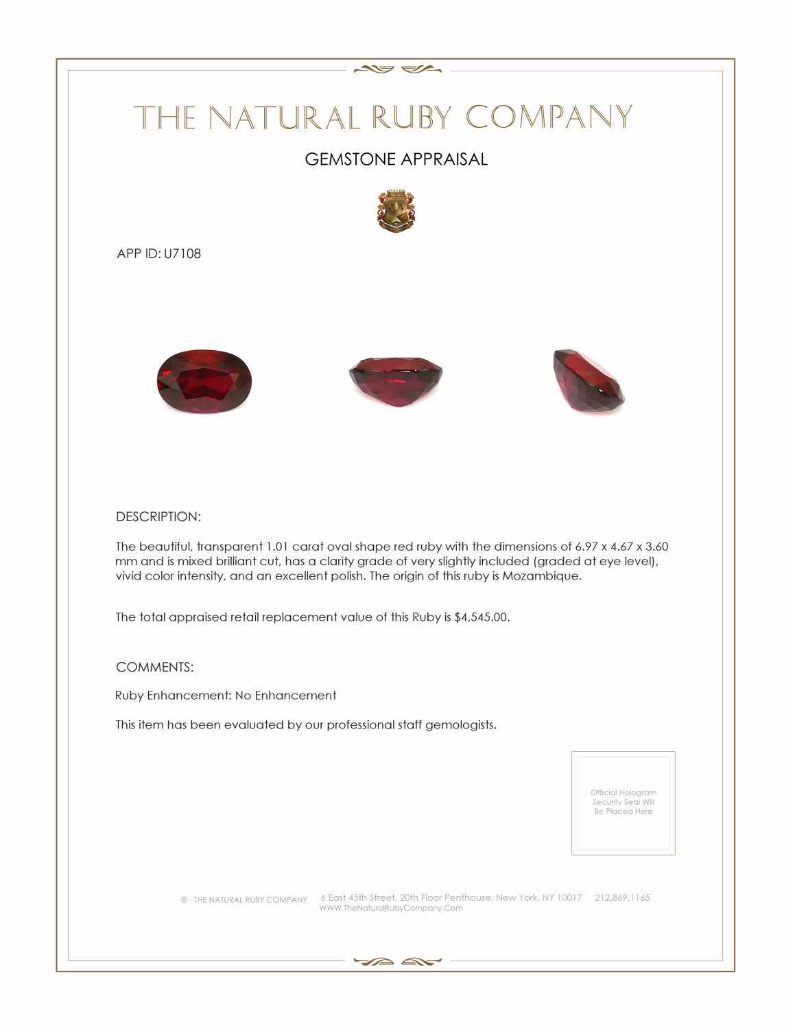 Natural Untreated Ruby U7108 Certification 3