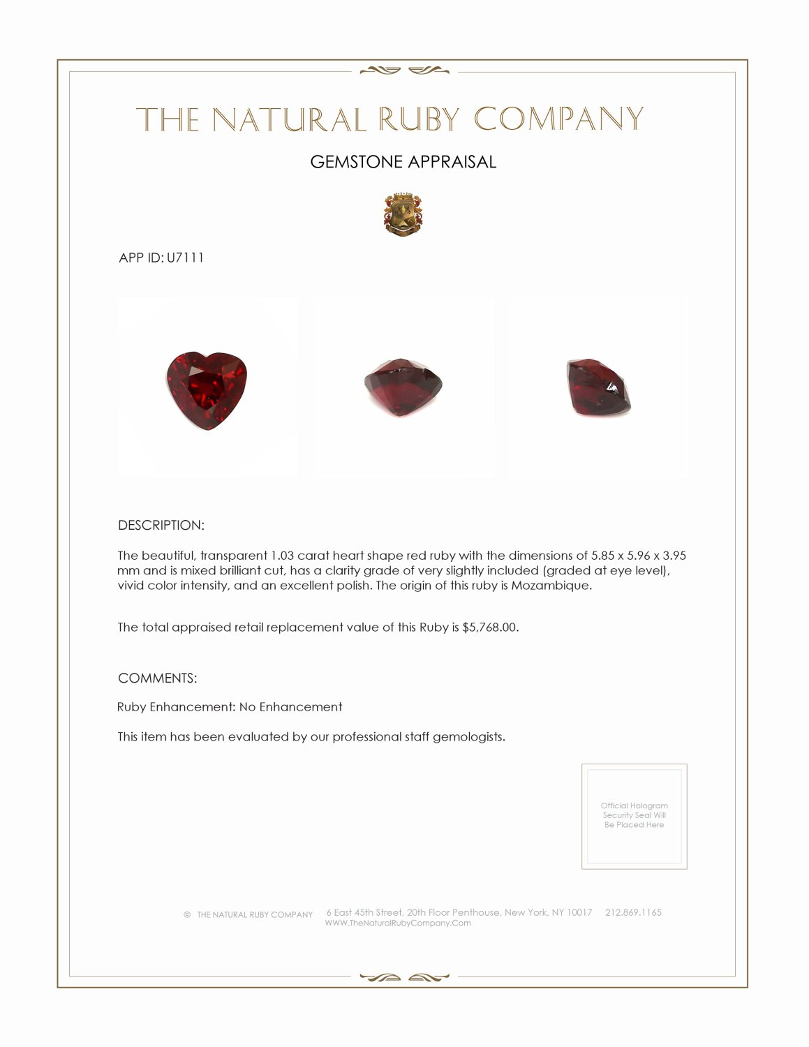 Natural Untreated Ruby U7111 Certification 3