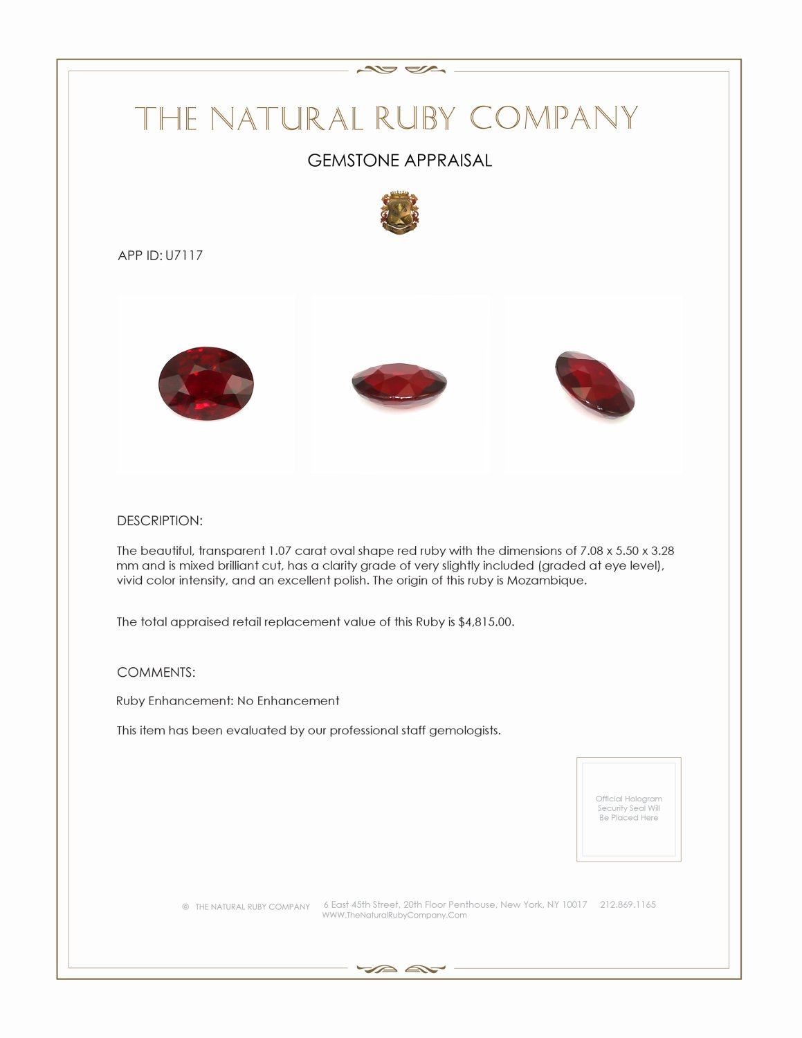 Natural Untreated Ruby U7117 Certification 3