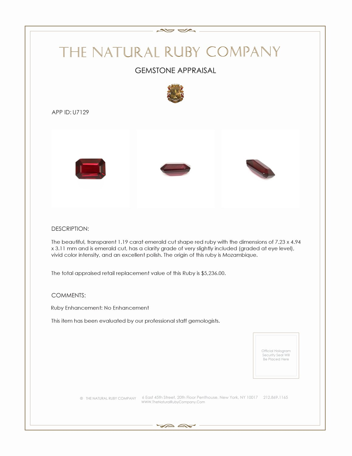 Natural Untreated Ruby U7129 Certification 3
