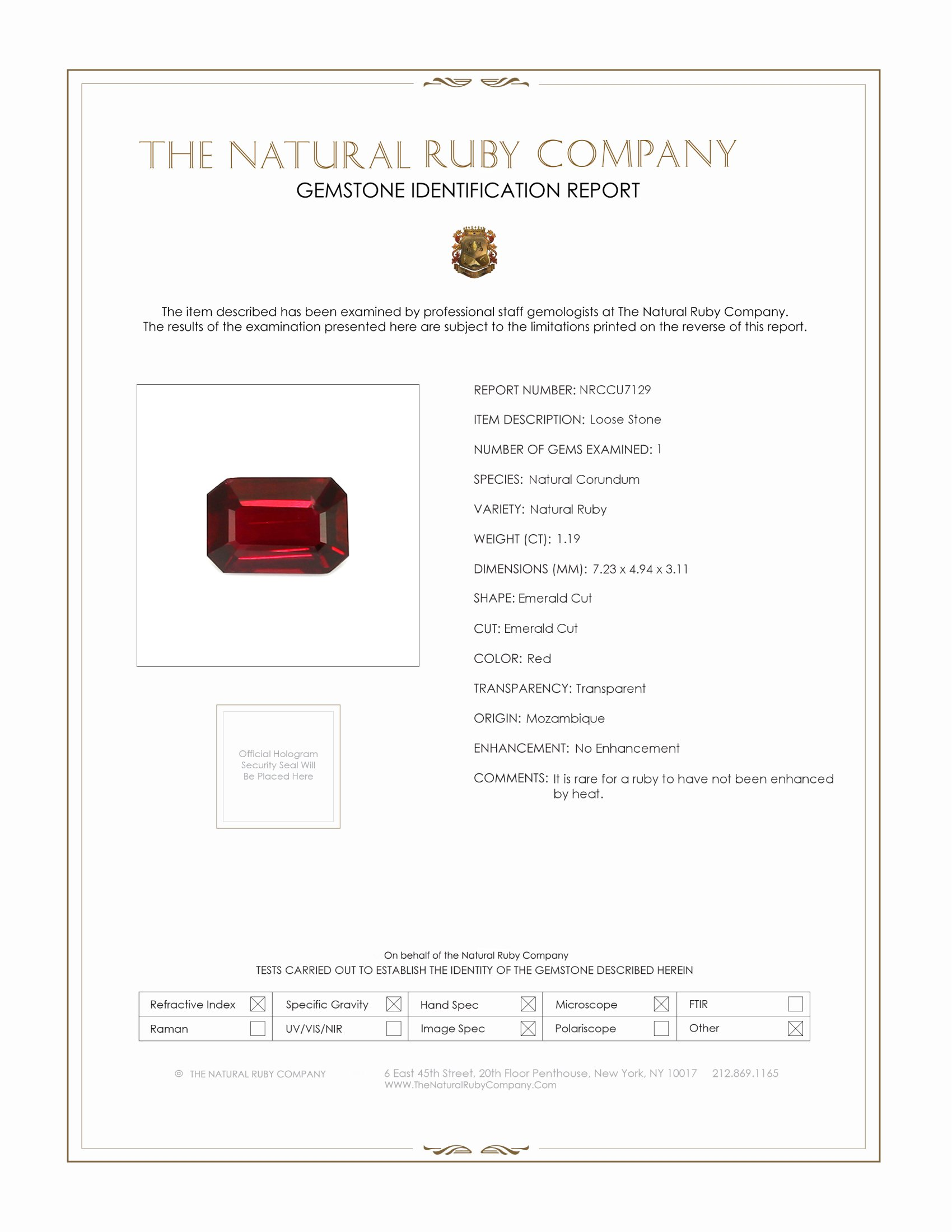 Natural Untreated Ruby U7129 Certification