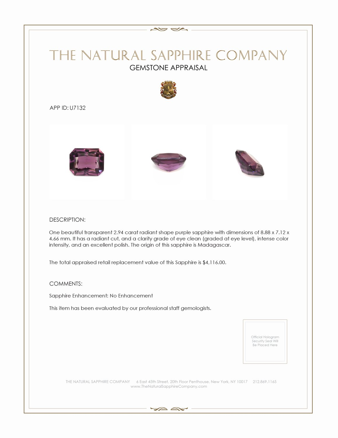 Natural Untreated Purple Sapphire U7132 Certification 3