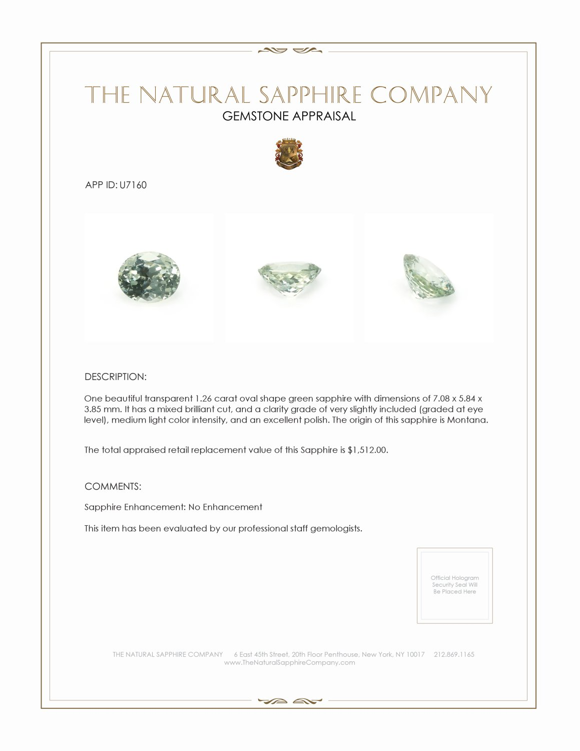 Natural Untreated Green Sapphire U7160 Certification 3