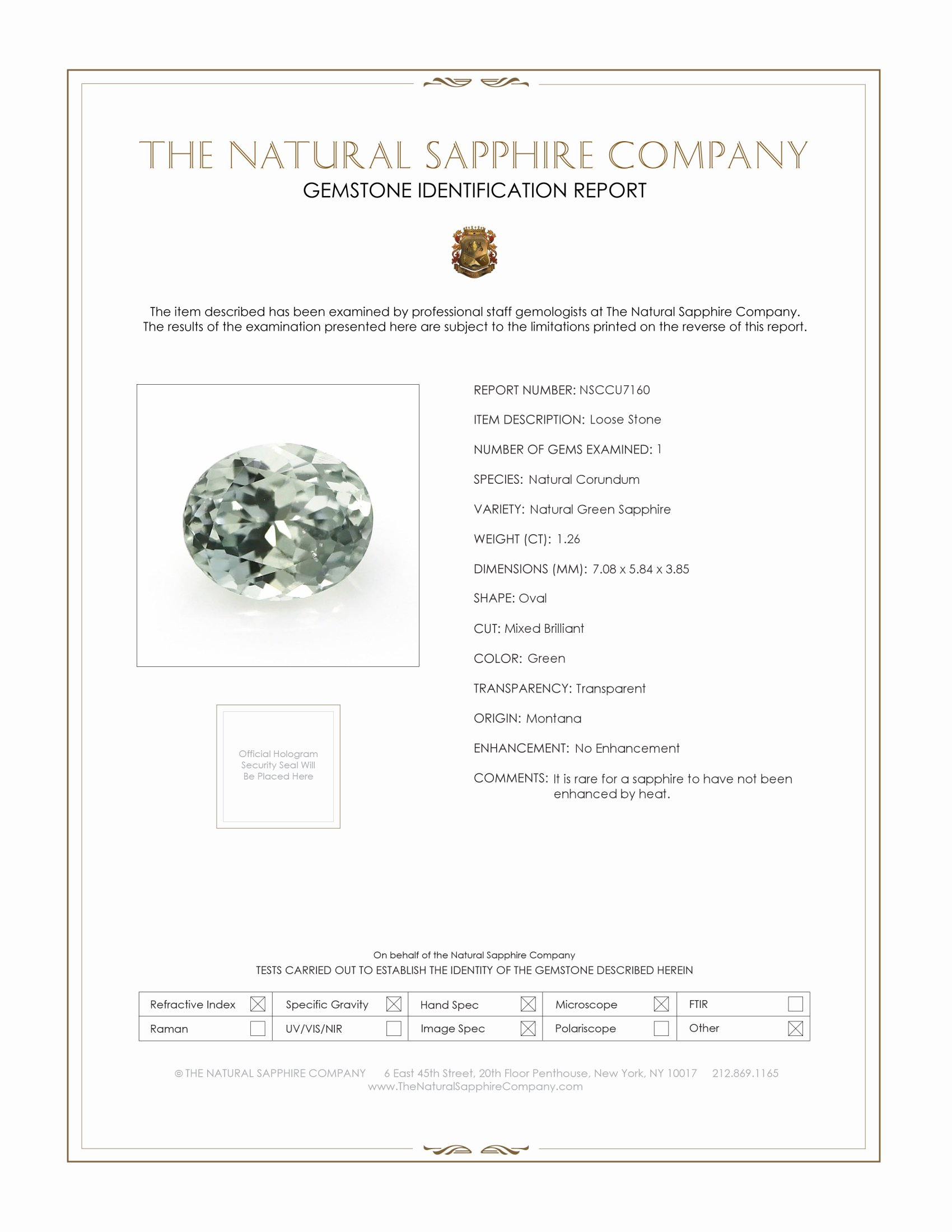 Natural Untreated Green Sapphire U7160 Certification