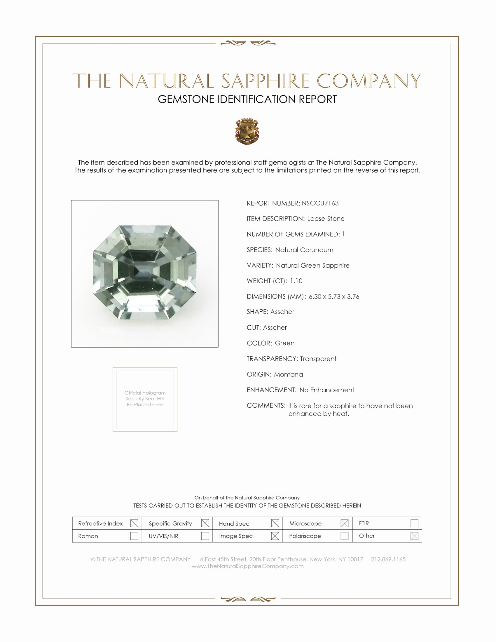 Natural Untreated Green Sapphire U7163 Certification