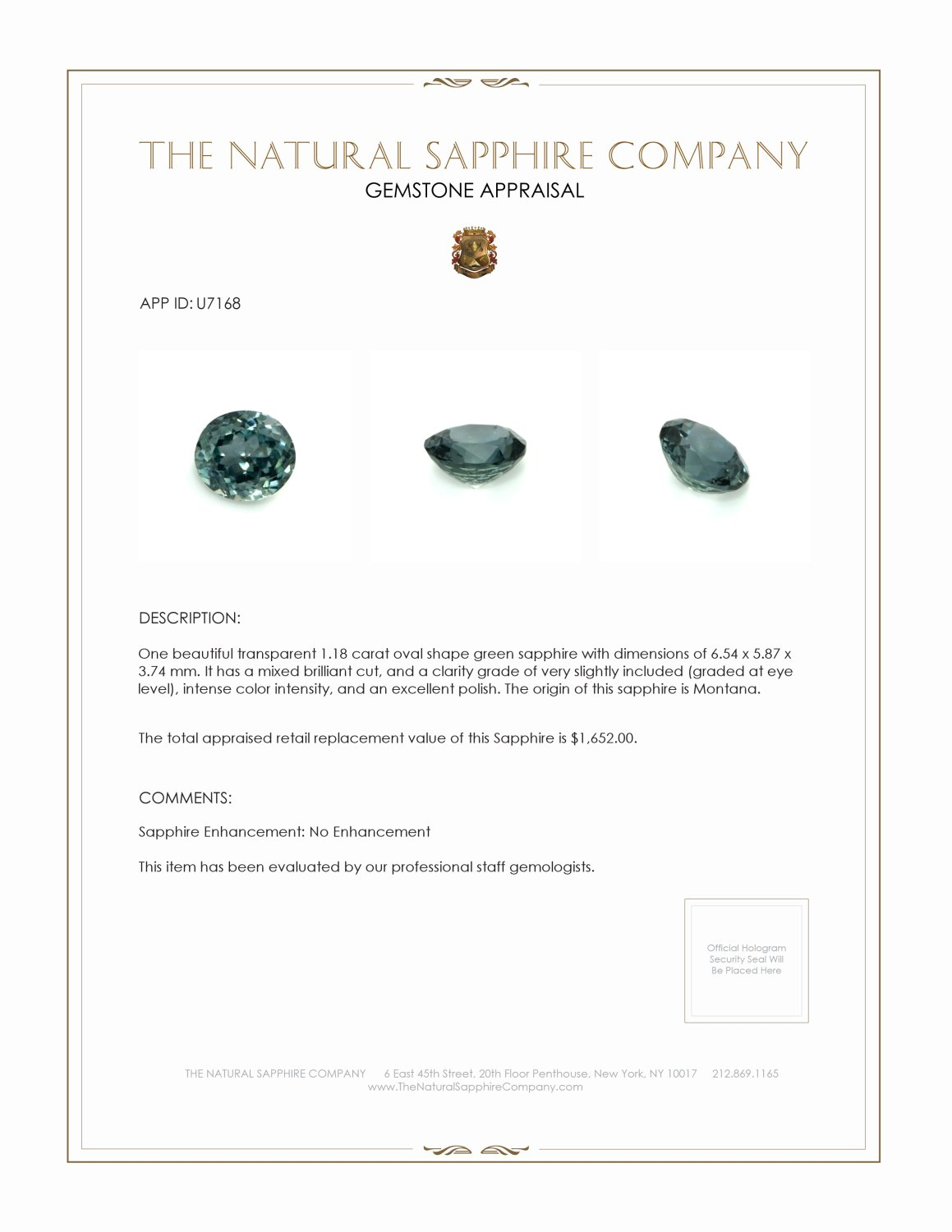 Natural Untreated Green Sapphire U7168 Certification 3