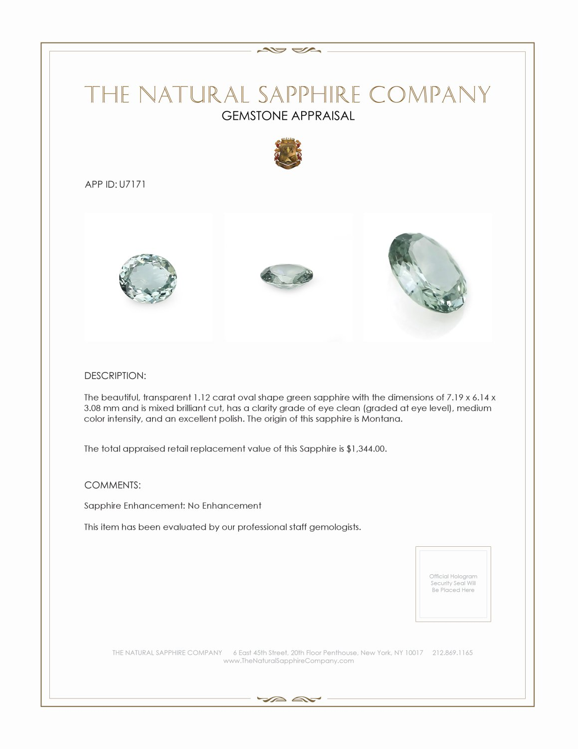 Natural Untreated Green Sapphire U7171 Certification 3