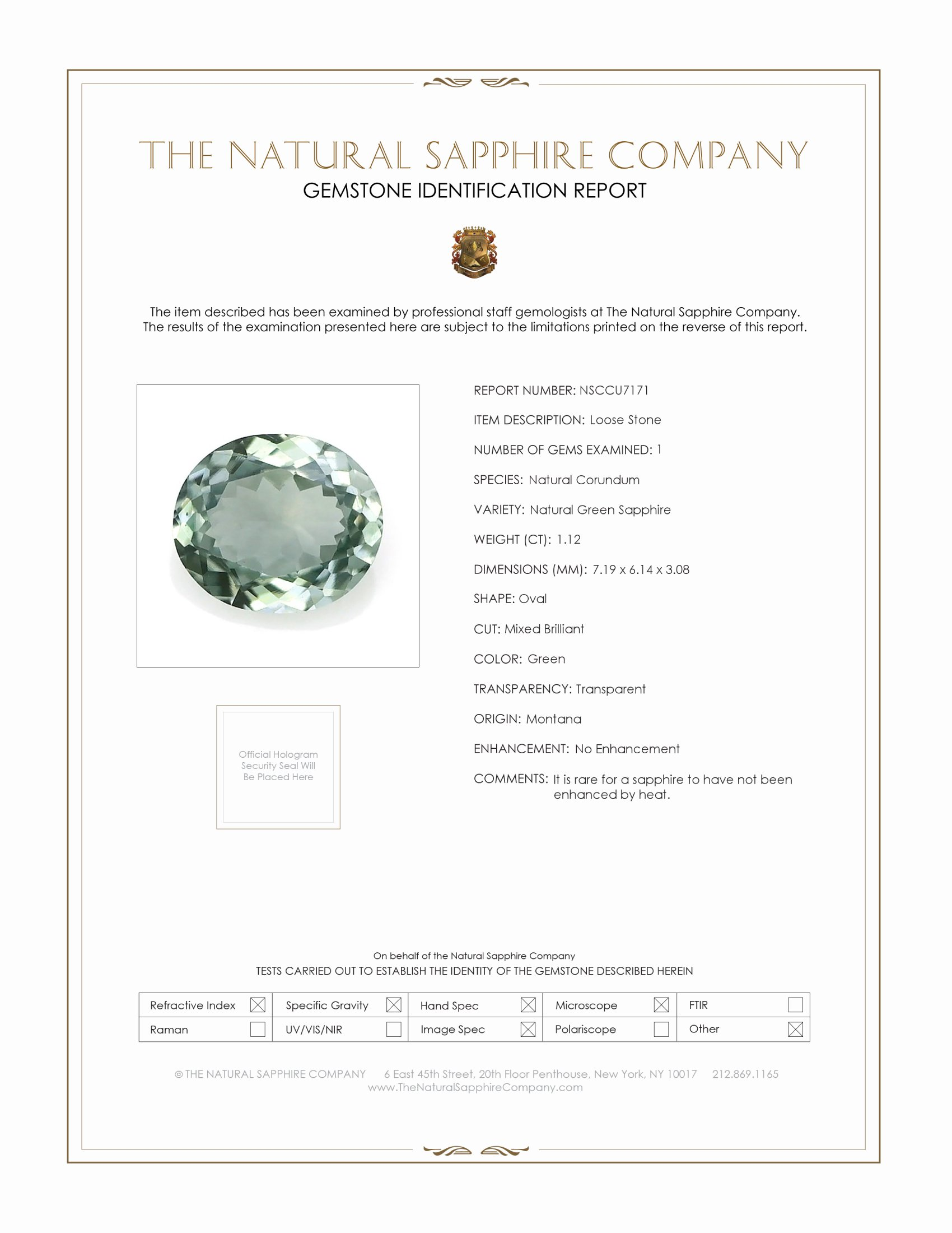 Natural Untreated Green Sapphire U7171 Certification