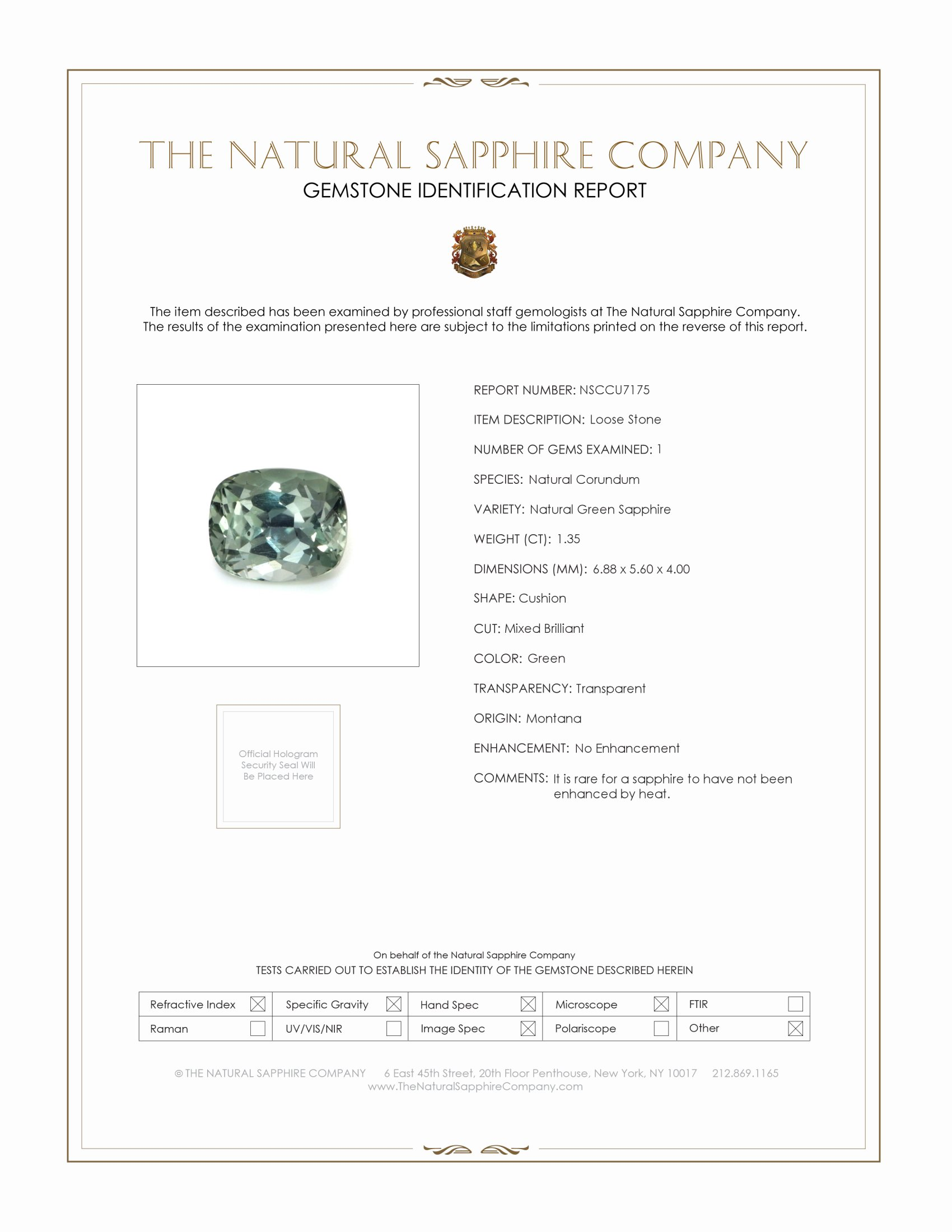 Natural Untreated Green Sapphire U7175 Certification