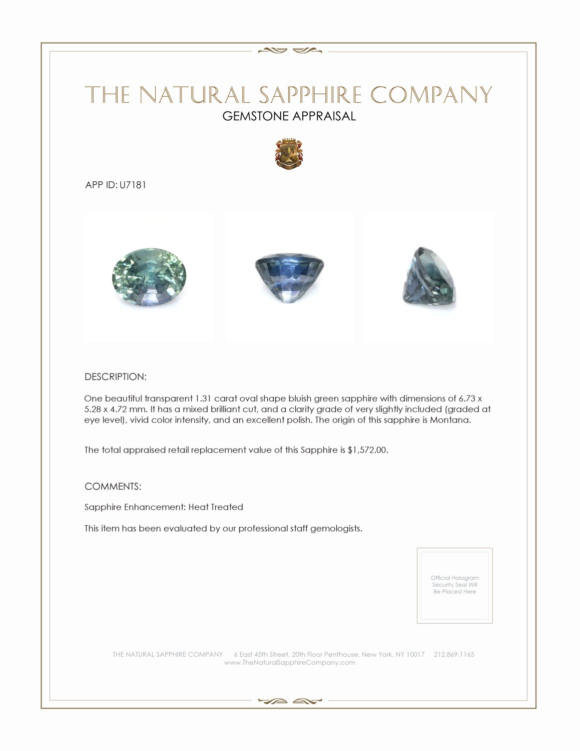Natural Bluish Green Sapphire U7181 Certification 3