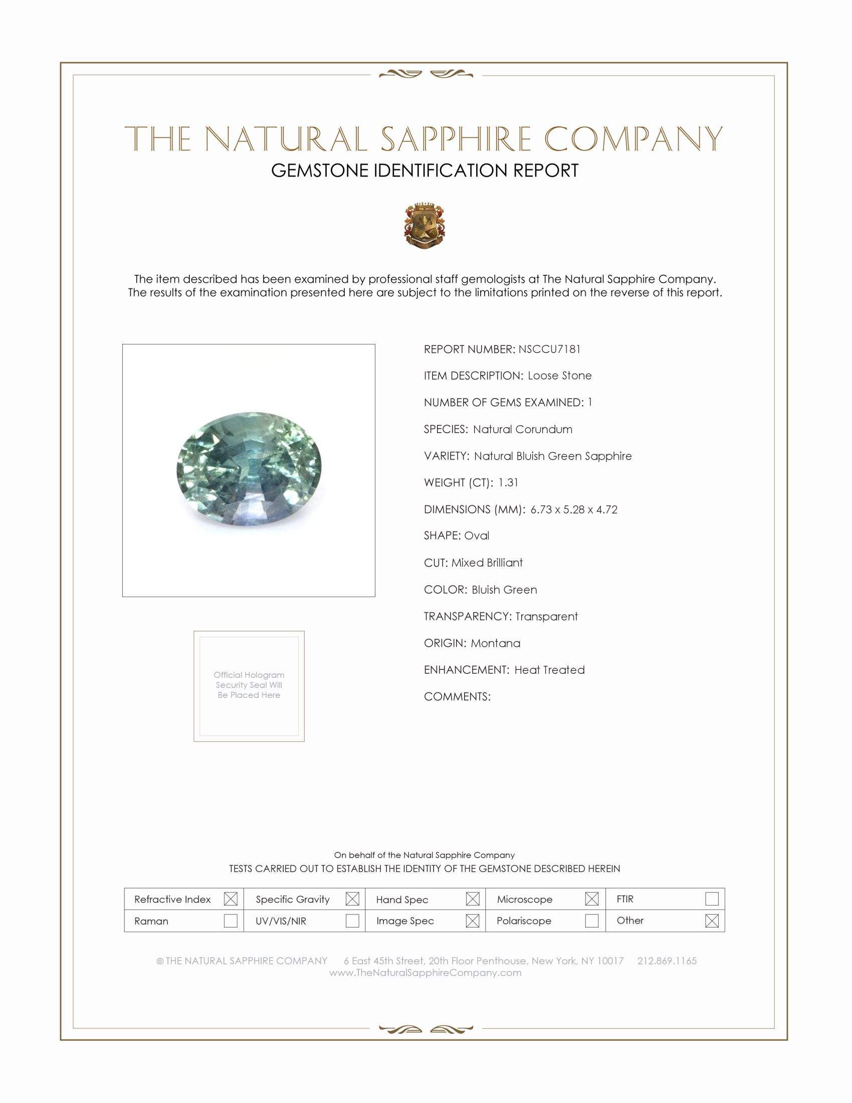 Natural Bluish Green Sapphire U7181 Certification