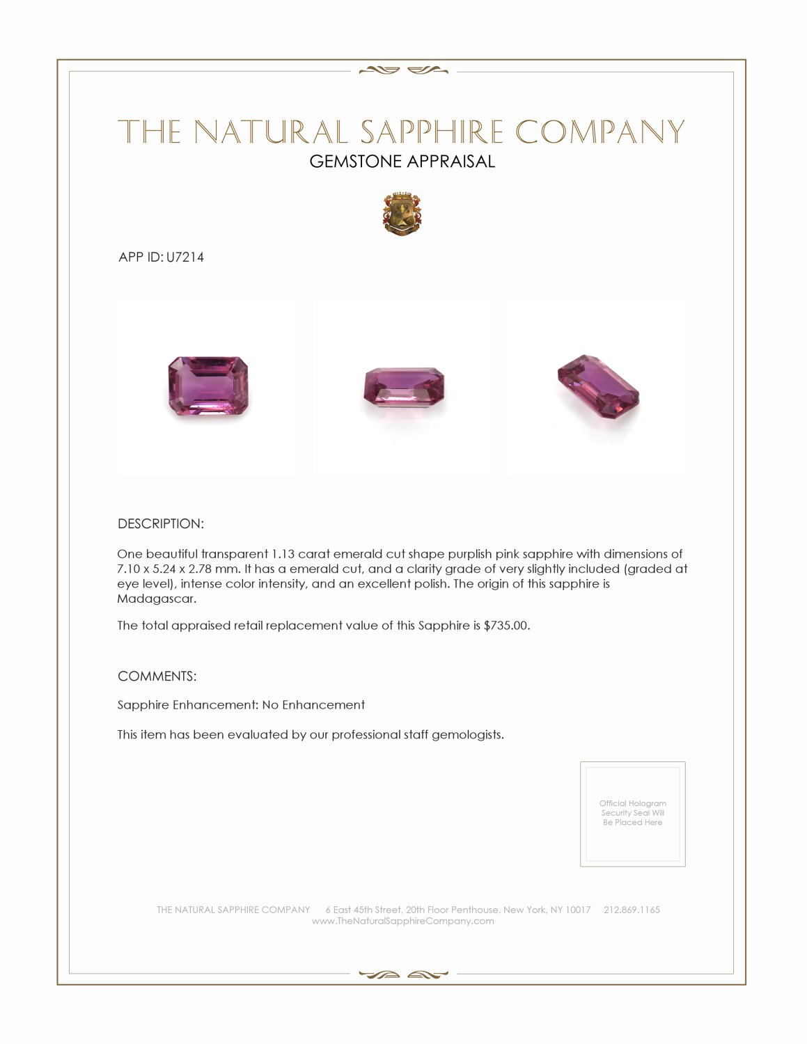 Natural Untreated Purplish Pink Sapphire U7214 Certification 3