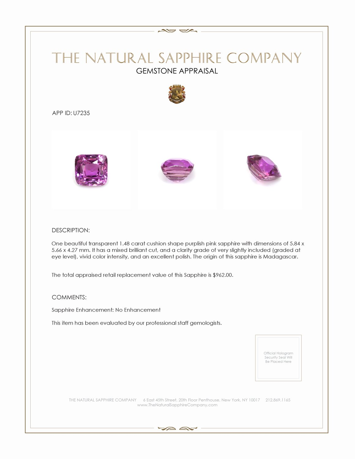 Natural Untreated Purplish Pink Sapphire U7235 Certification 3