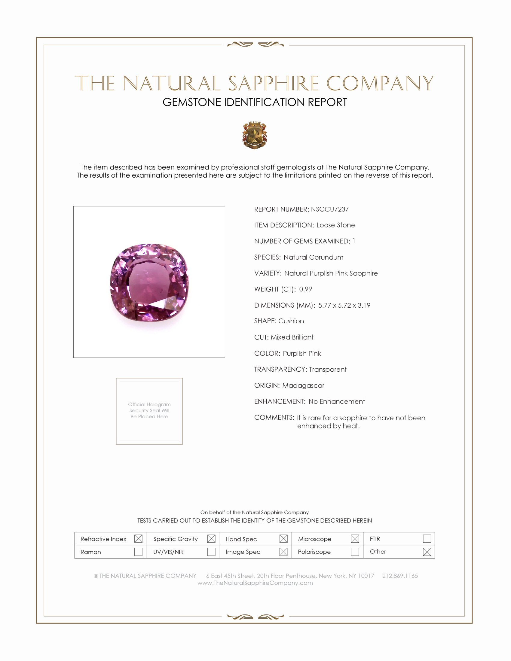 Natural Untreated Purplish Pink Sapphire U7237 Certification
